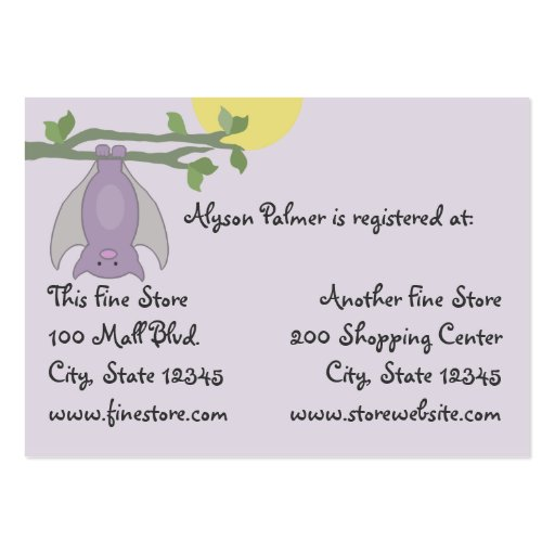 Bat/ Full Moon baby shower Business Cards