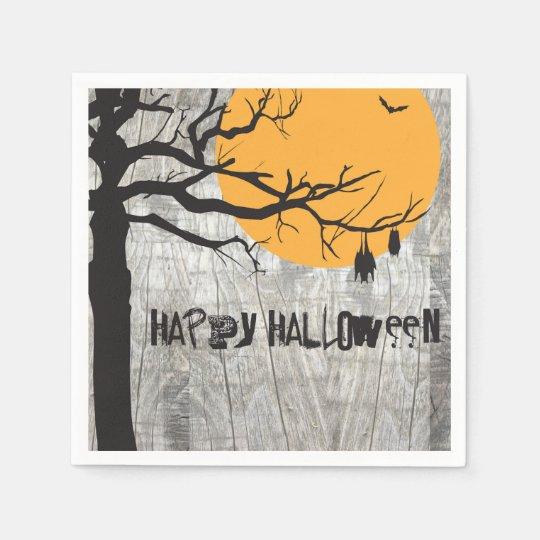 Bat Full Moon Tree Halloween Paper Napkin