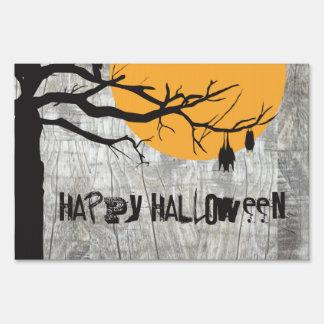 Bat Full Moon Tree Halloween Yard Sign