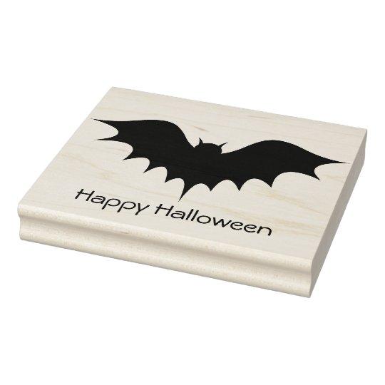 Bat - Happy Halloween - Rubber Stamp
