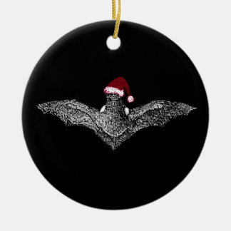 Bat In A Santa Hat Ceramic Ornament