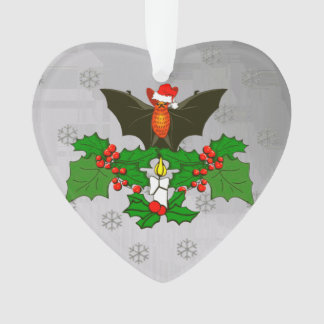 Bat In The Holly Ornament