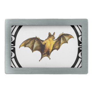 Bat loops fancy rectangular belt buckle