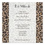 "Bat Mitzvah - Animal Print, Leopard - Brown Black 5.25"" Square Invitation Card"