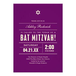 Bat Mitzvah Big Type Invitations