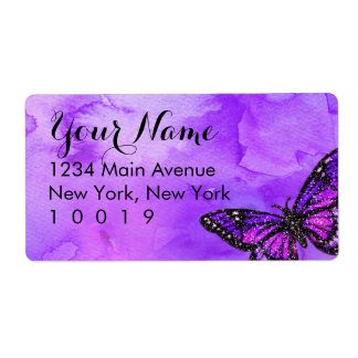 Bat Mitzvah Butterfly Purple and Pink Painted Shipping Label