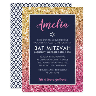 BAT MITZVAH cool navy pink gold glitter invite