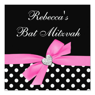 Bat mitzvah de coeur d'arc de noir de rose de carton d'invitation  13,33 cm