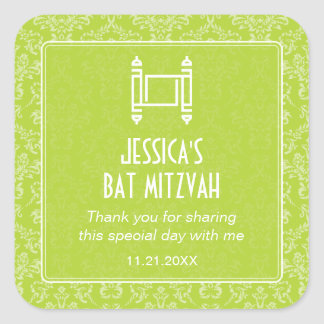 Bat mitzvah de Torah de damassé de vert de chaux Adhésif
