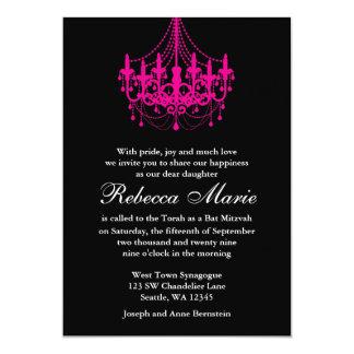 Bat mitzvah élégant de lustre de noir et de roses carton d'invitation  12,7 cm x 17,78 cm