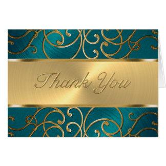 Bat Mitzvah Elegant Teal Blue and Gold Filigree Note Card