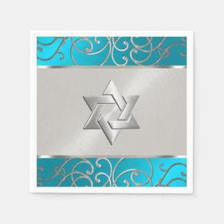 Bat Mitzvah Elegant Turquoise Blue Silver Filigree Disposable Napkin