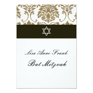 "Bat  Mitzvah+Faux Gold Damask/black+white 5"" X 7"" Invitation Card"