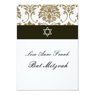 Bat  Mitzvah+Faux Gold Damask/black+white Card