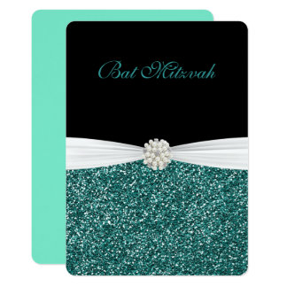 Bat Mitzvah, Glitter and Pearls, Custom Invitation