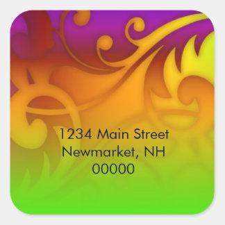 Bat Mitzvah Green Purple Orange Red Swirls Square Sticker
