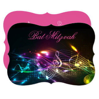 Bat Mitzvah Invitation, Bright Neon Lights Card
