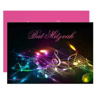 Bat Mitzvah Invitation, Bright Neon Lights Card