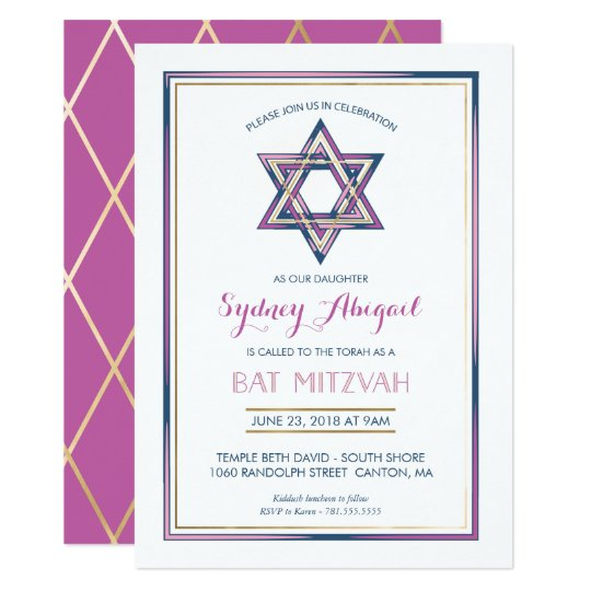 Bat Mitzvah Invitation - Customize, Gold, Modern
