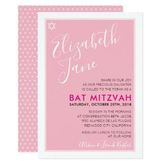 BAT MITZVAH jewish star stylish tween pink invite