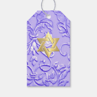 Bat Mitzvah Lavender Purple Damask with Any Color Pack Of Gift Tags