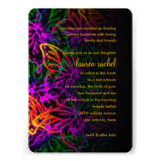 Bat Mitzvah Neon Butterfly Collage Personalized Invite