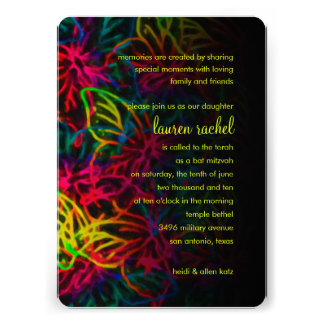 Bat Mitzvah Neon Butterfly Collage Card