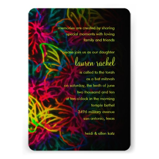 Bat Mitzvah Neon Butterfly Collage Card
