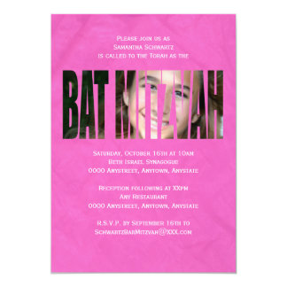 Bat Mitzvah Photo Invitation in Hot Pink, Crinkled