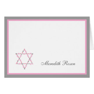 Bat Mitzvah Pink Floral Star Thank you notes