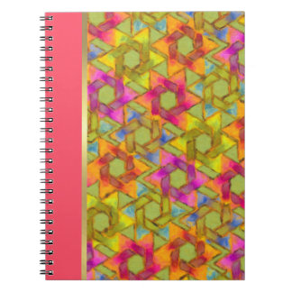 Bat Mitzvah Pink Green Orange Star Damask Spiral Notebook