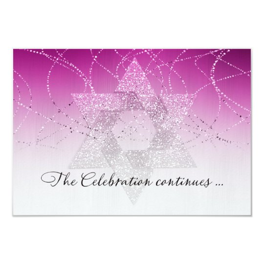 Bat Mitzvah Pink Magenta Star Glittery After Party Card