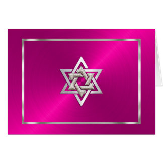 Bat Mitzvah Pink Sheen Thank You Card