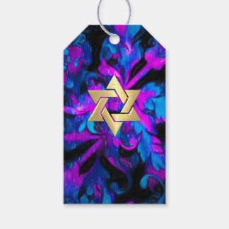 Bat Mitzvah Pink Turquoise and Black Acanthus Gift Tags