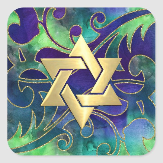 Bat Mitzvah Purple Green Watercolor Gold Accents Square Sticker
