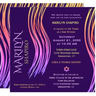 Bat Mitzvah Purple, Pink Prayer Shawl Invitation