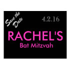 Bat Mitzvah Save the Date Postcard