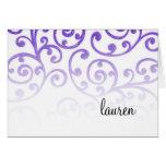 Bat Mitzvah Scroll Pattern Purple Greeting Card
