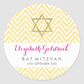 BAT MITZVAH SEAL chevron pattern gold star yellow Round Sticker