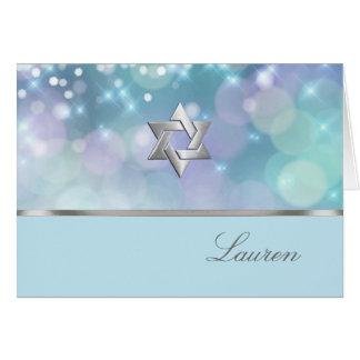 Bat Mitzvah Sparkle Lights Blue and Purple Card