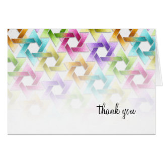 Bat Mitzvah Star of David Rainbow Damask Card