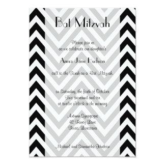 """Bat Mitzvah - Zigzag (Chevron) - White Black 5"""" X 7"""" Invitation Card"""