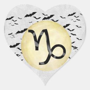 Bat Moon Capricorn Heart Sticker