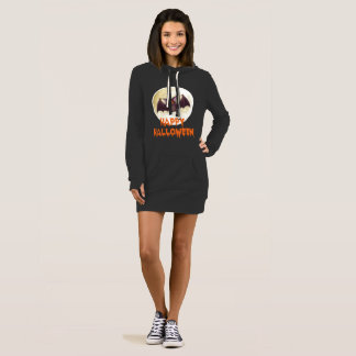 Bat Moon Halloween Hoodie Dress