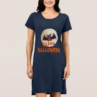 Bat Moon Halloween T-Shirt Dress