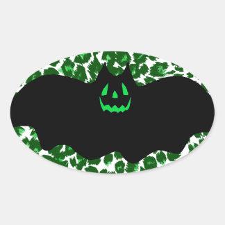 Bat On Green Leopard Spots Oval Sticker