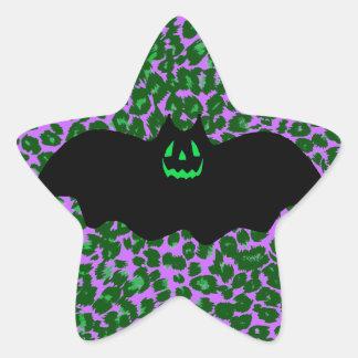 Bat On Green Leopard Spots Star Sticker