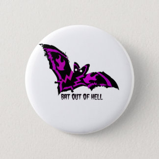 BAT OUT OF HELL WITH PURPLE FLAMES AND LIGHTNING 2 INCH ROUND BUTTON