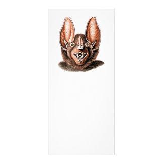 Bat Portrait Retro in Orange Rack Card