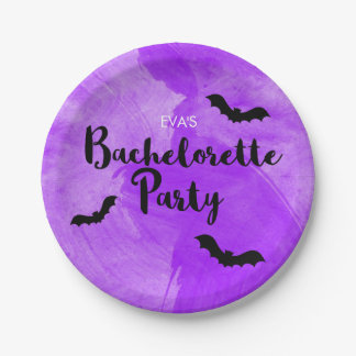 Bat Purple Black Bachelorette Halloween Party Paper Plate